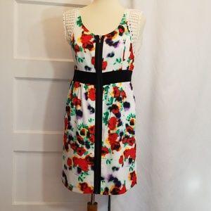 Kensie Floral Zip Front Dress,  Size M